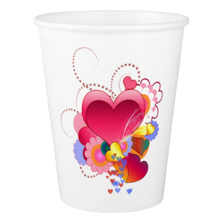 Hearts and Flowers Paper Cup