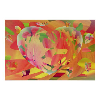 Hearts and Flowers Sunburst Colors Poster
