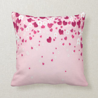 hearts and flowers throw pillow