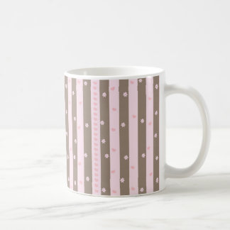 Hearts and Flowers Vertical Stripe Pattern Coffee Mug