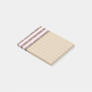Hearts and Flowers Vertical Stripe Pattern Post-it Notes