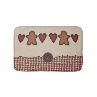 Hearts and Gingerbread Man Bath Mat