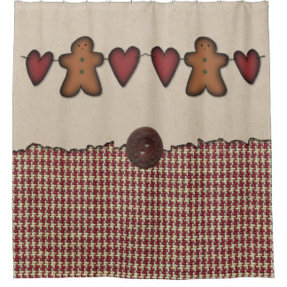 Hearts And Gingerbread Man Shower Curtain