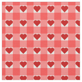 Hearts and Gingham Fabric