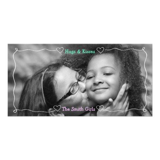 Hearts and Line Border White Custom Photo Card