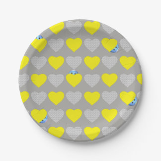 Hearts and Little Egg Woman 7 Inch Paper Plate