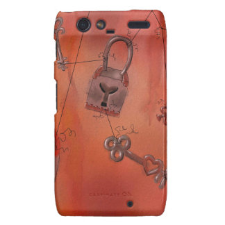 Hearts and Locks Watercolor Painting Droid RAZR Case