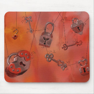 Hearts and Locks, Watercolor Painting Mousepads