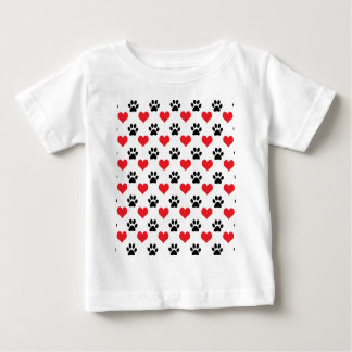 Hearts and paw prints pattern baby T-Shirt