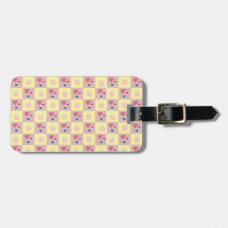 Hearts and Paws Checkerboard Luggage Tag