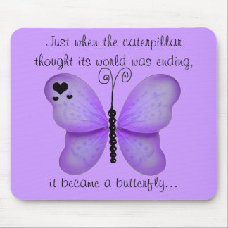 Hearts and Purple Butterfly Quote Mouse Pad