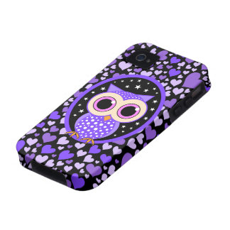 hearts and purple owl case for the iPhone 4