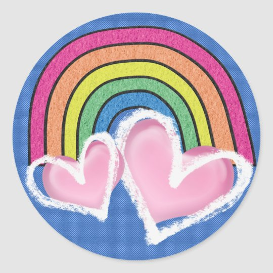 Hearts and Rainbows Round Sticker