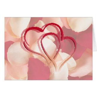 hearts and rose petals card