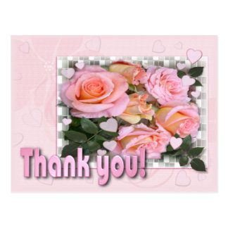 Hearts and Roses Thank You Postcard