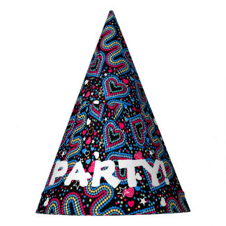 Hearts and sequins party hat
