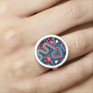 Hearts and sequins ring