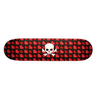 Hearts and skull on black skateboard deck