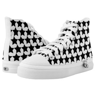 HEARTS AND STARS BLACK/WHITE HIGH-TOP SNEAKER