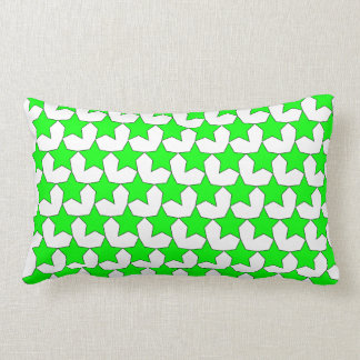 HEARTS AND STARS GREEN/WHITE THROW PILLOW