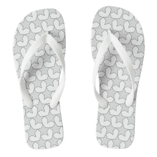 HEARTS AND STARS GREY/WHITE FLIP-FLOP FLIP FLOPS
