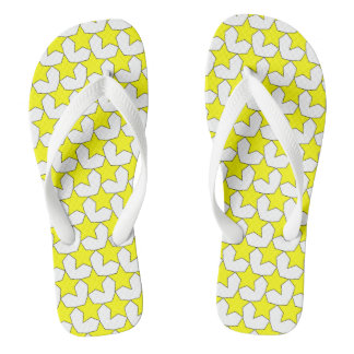 HEARTS AND STARS YELLOW/WHITE FLIP-FLOPS FLIP FLOPS