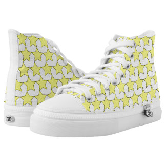HEARTS AND STARS YELLOW/WHITE HIGH-TOP SNEAKER