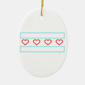 Hearts and Stripes Forever - open hearts flag Ceramic Oval Ornament