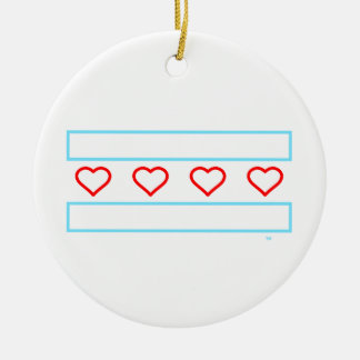 Hearts and Stripes Forever - open hearts flag Round Ceramic Ornament