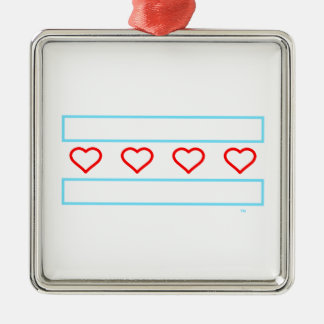 Hearts and Stripes Forever - open hearts flag Silver-Colored Square Ornament
