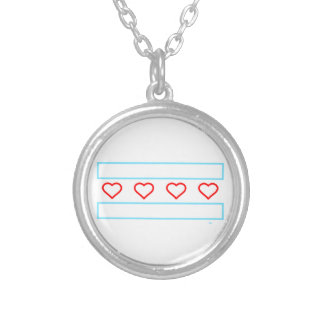 Hearts and Stripes Forever - open hearts flag Silver Plated Necklace