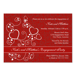 """Hearts and Swirls Valentine's Day Engagement Party 5"""" X 7"""" Invitation Card"""