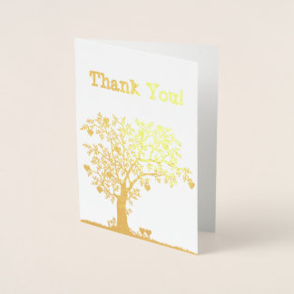 Hearts and Tree Blank Thank You Gold Foil Card