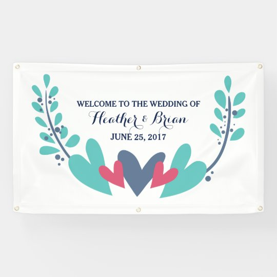 Hearts and Vines Wedding Banner