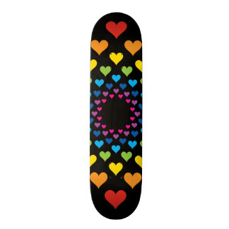 Hearts around hearts in different colors skate board decks