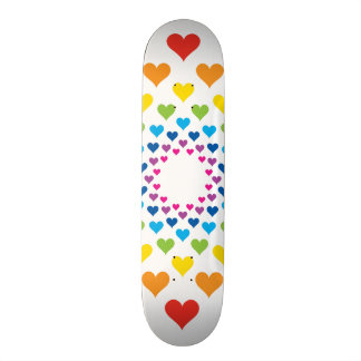 Hearts around hearts in different colors skateboard decks