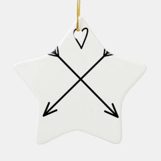 Hearts & Arrows Ceramic Star Ornament