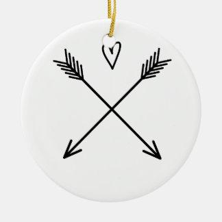 Hearts & Arrows Round Ceramic Ornament