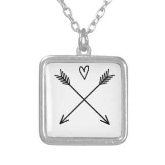 Hearts & Arrows Silver Plated Necklace