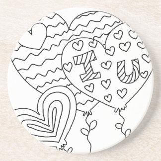 Hearts&Balloons DIY Coloring Doodle Coasters