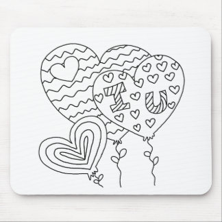 Hearts&Balloons DIY Coloring Doodle gifts Mouse Pad