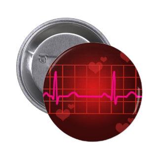 hearts beat round copy pinback button