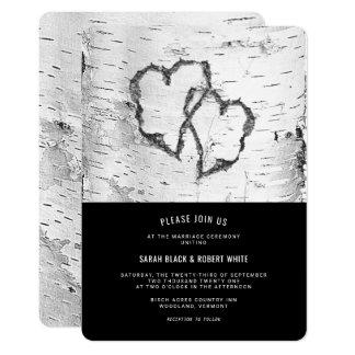 Hearts Birch Tree Bark Rustic Wedding Invitation