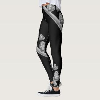 Hearts black design leggings