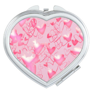 Hearts Candy Pink Emboss Girly Ornate Chic Love Travel Mirror