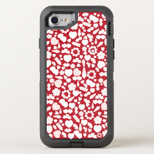 Hearts Collage on Red OtterBox Defender iPhone 7 Case