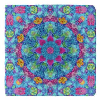 Hearts Colorful Vintage Kaleidoscope   Trivet