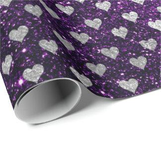 Hearts Confetti Silver Gray Glitter Purple Plum
