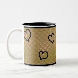 hearts ~ customizable Two-Tone coffee mug