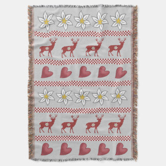 Hearts Deer and Edelweiss Throw Blanket